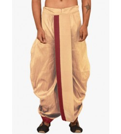 Beige Dhoti With Red Strip