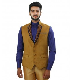 Beige Color Designer Nehru Jacket Close Up