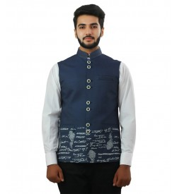 Blue Digital Print Nehru Jacket Close UP