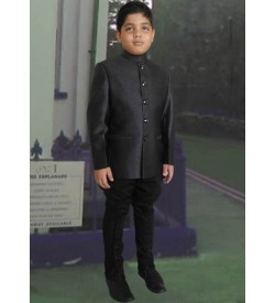 Dark Grey Color Jodhpuri Coat with Black Breeches