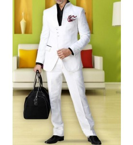 White Designer Suit in Linen