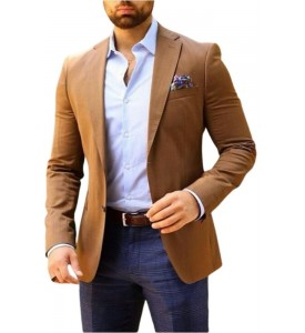 Sandy Brown Color Linen Blazer