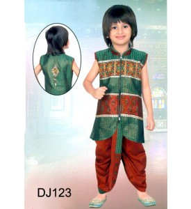 Green and Maroon Brocade Dhoti Jacket