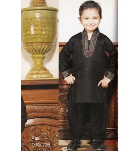 Black Cotton Linen  High Neck Kurta-Salwar