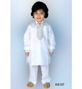 White Cotton Kurta with Salwar.