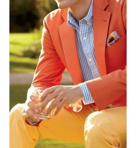Orange Linen Jacket And Yellow Trouser