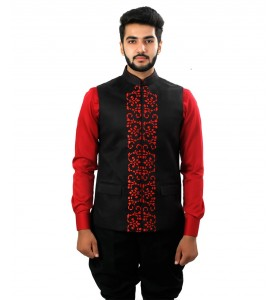 Black  Nehru Jacket Laser Cut Work At Front
