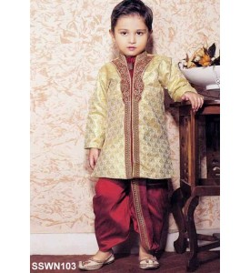 Cream Brocade Silk Semi Sherwani With Maroon Dhoti.