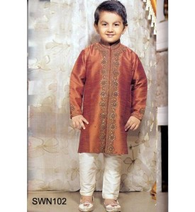 Dark Mustard Sherwani with Pyjama
