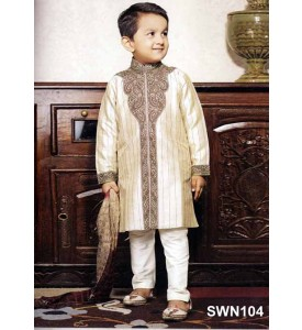 Cream Dupion Silk Sherwani With  Cream Pyjama