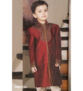 Maroon Dupion Silk High Neck Sherwani