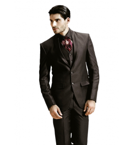 Dark Brown Three Piece Suit With Shirt